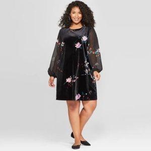 Black Velvet Dress with Floral Detail